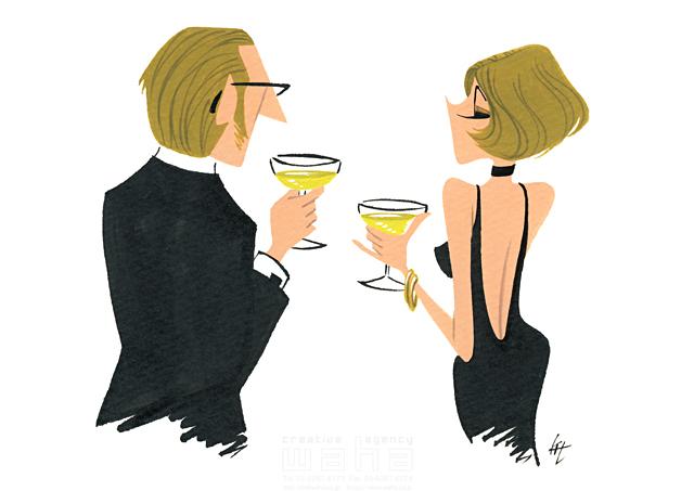 イラスト&写真のストックフォトwaha(ワーハ) 人、人々、大人、男性、女性、夫婦、カップル、ロマンチック、パーティー、お酒、ナイトタイム、夜、スーツ、ドレス、おしゃれ 徳光 和司 19-2304b