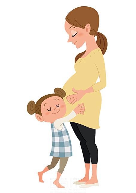 イラスト&写真のストックフォトwaha(ワーハ) 人、人々、大人、女性、若者、母、親子、憩い、癒やし、安らぎ、愛情、妊婦、妊娠、赤ちゃん、微笑む、子供、女の子、小学生、成長 両口 和史 19-2307b