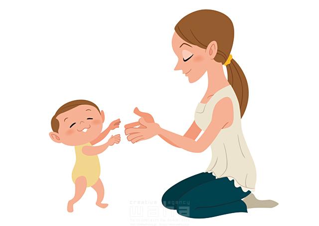 イラスト&写真のストックフォトwaha(ワーハ) 人、人々、大人、女性、若者、母、親子、憩い、癒やし、安らぎ、愛情、赤ちゃん、微笑む、歩く、練習、成長 両口 和史 19-2308b