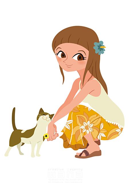 イラスト&写真のストックフォトwaha(ワーハ) 人、人物、女性、大人、若者、動物、猫、ペット、癒やし、憩い、安らぎ、ふれあい 両口 和史 19-2310b