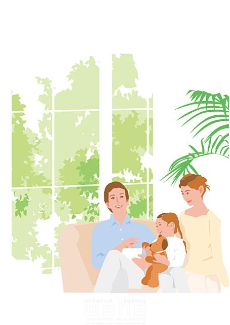 イラスト&写真のストックフォトwaha(ワーハ) 人、人々、女性、男性、大人、親子、父、母、子供、女の子、小学生、家族、リビング、ソファ、笑顔、生活、暮らし、緑、窓 都筑 みなみ 19-2313c