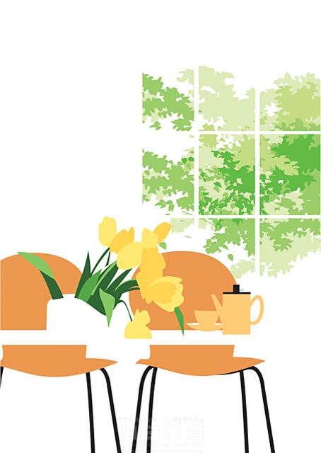 イラスト&写真のストックフォトwaha(ワーハ) リビング、生活、暮らし、緑、部屋、インテリア、テーブル、花、ティータイム、窓、家具 都筑 みなみ 19-2321b
