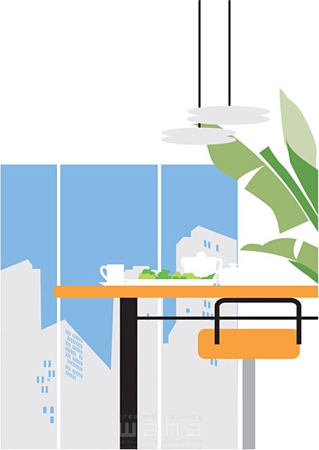イラスト&写真のストックフォトwaha(ワーハ) リビング、ダイニング、生活、暮らし、緑、部屋、インテリア、テーブル、ティータイム、窓、家具、食事、都会、街 都筑 みなみ 19-2323b