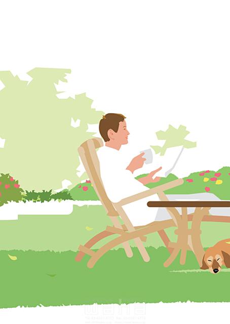 イラスト&写真のストックフォトwaha(ワーハ) 人、人物、男性、大人、笑顔、生活、暮らし、緑、ベランダ、テラス、庭、犬、ペット、憩い、安らぎ、休日、屋外 都筑 みなみ 19-2327cv