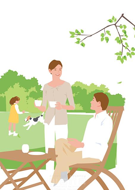 イラスト&写真のストックフォトwaha(ワーハ) 人、人々、女性、男性、大人、夫婦、女の子、子供、小学生、親子、家族、生活、暮らし、緑、憩い、安らぎ、ティータイム、庭、テラス、犬、ペット 都筑 みなみ 19-2328cv