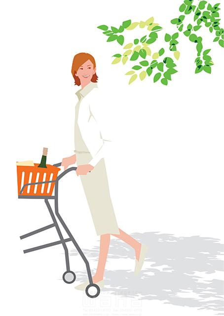 イラスト&写真のストックフォトwaha(ワーハ) 人、人物、女性、大人、生活、暮らし、緑、屋外、ショッピング、買い物、街 都筑 みなみ 19-2330c