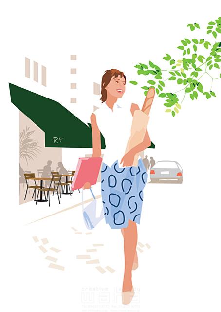イラスト&写真のストックフォトwaha(ワーハ) 人、人物、女性、大人、生活、暮らし、緑、屋外、ショッピング、買い物、街、散歩、お出かけ、カフェ、オープンカフェ 都筑 みなみ 19-2332cv