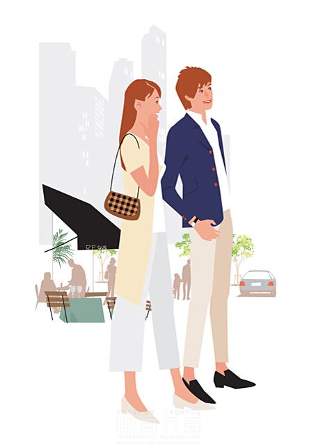 イラスト&写真のストックフォトwaha(ワーハ) 人、人物、女性、男性、大人、夫婦、カップル、生活、暮らし、緑、屋外、街、都会、デート、お出かけ、カフェ、オープンカフェ 都筑 みなみ 19-2333c
