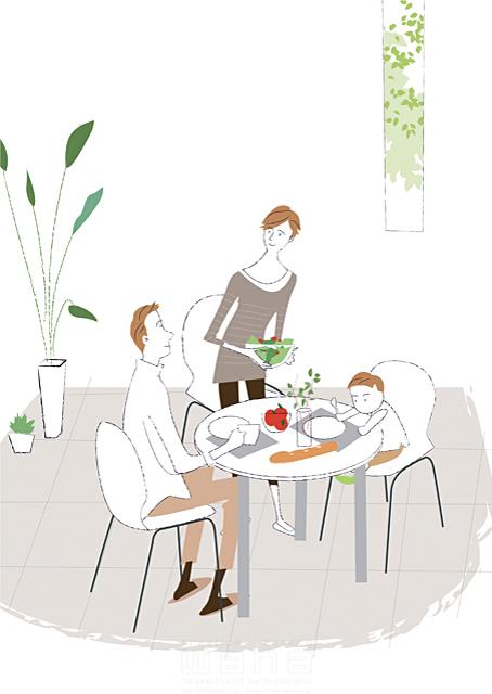 イラスト&写真のストックフォトwaha(ワーハ) 人、人々、女性、男性、大人、子供、親子、父、母、男の子、小学生、リビング、ダイニング、生活、暮らし、緑、部屋、インテリア、テーブル、窓、食事 相田 洋 19-2335c