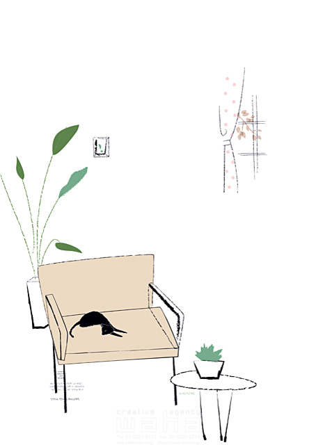 イラスト&写真のストックフォトwaha(ワーハ) リビング、生活、暮らし、緑、部屋、インテリア、イス、観葉植物、窓、家具、猫、ペット 相田 洋 19-2336b
