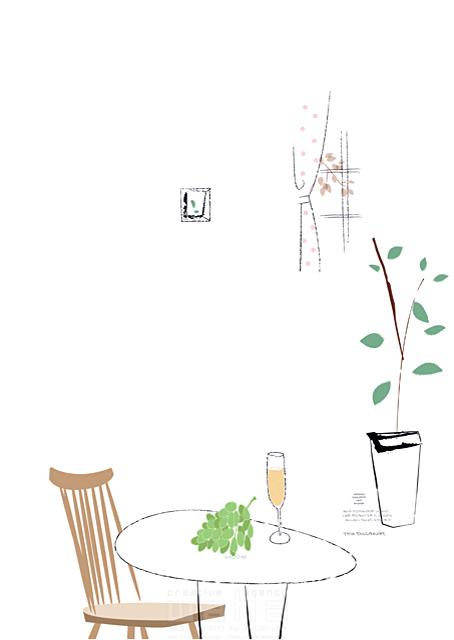 イラスト&写真のストックフォトwaha(ワーハ) リビング、生活、暮らし、緑、部屋、インテリア、イス、観葉植物、窓、家具、おしゃれ 相田 洋 19-2337b
