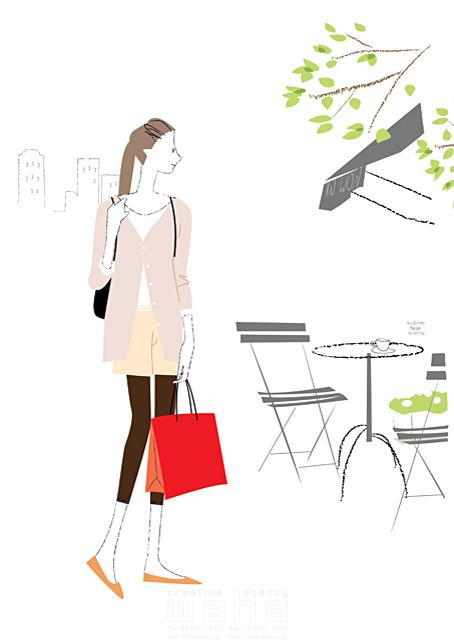 イラスト&写真のストックフォトwaha(ワーハ) 人、人物、女性、大人、若者、お出かけ、ショッピング、カフェ、オープンカフェ、休日、都会、街 相田 洋 19-2339b