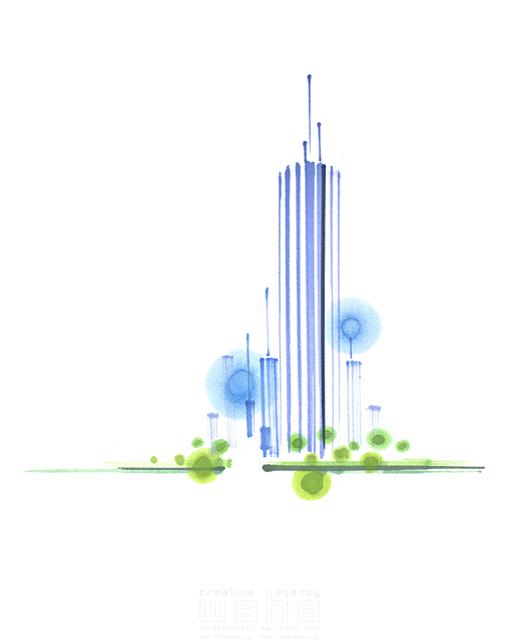 イラスト&写真のストックフォトwaha(ワーハ) 筆、街、都会、街並、建物、ビル、都市、社会、近未来的、近未来都市、未来、将来、成功、成長、開発 小沢和夫イラスト工房 19-2341bv