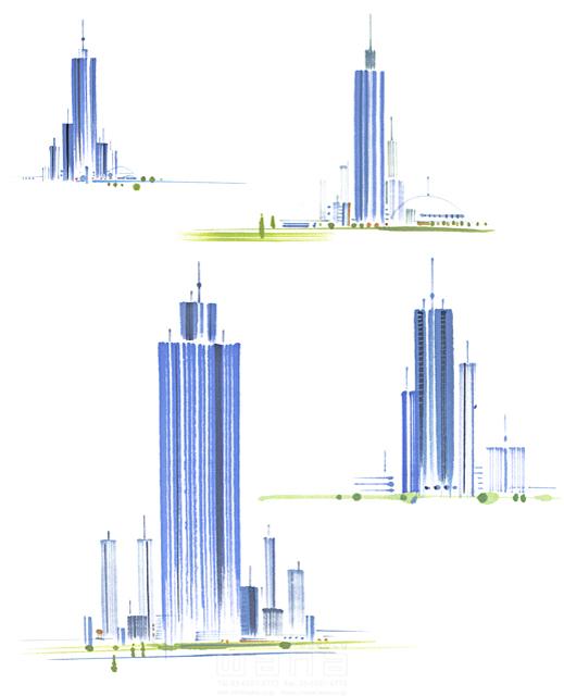 イラスト&写真のストックフォトwaha(ワーハ) 筆、街、都会、街並、建物、ビル、都市、社会、近未来的、近未来都市、未来、将来、成功、成長、開発、集合 小沢和夫イラスト工房 19-2342cv