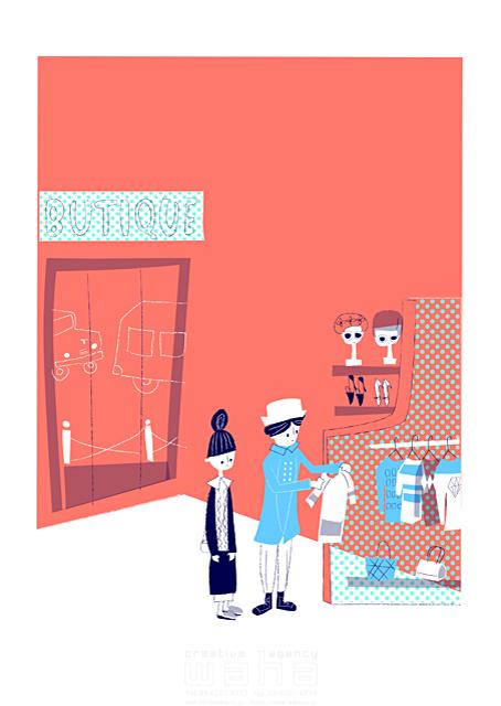 イラスト&写真のストックフォトwaha(ワーハ) 人、人々、女性、男性、若者、大人、夫婦、カップル、デート、お出かけ、ショッピング、買い物、ブティック、ファッション、ショップ、おしゃれ、キャラクター 小林 昌子 19-2343c