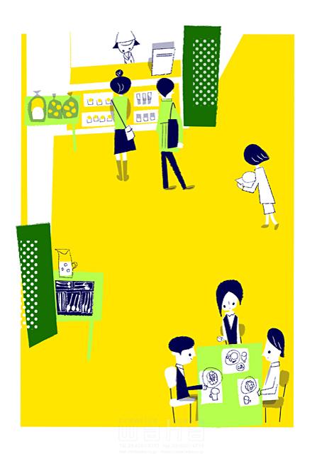 イラスト&写真のストックフォトwaha(ワーハ) 人、人々、女性、男性、若者、大人、集合、レストラン、ランチ、食事、カフェ、おしゃれ、キャラクター、お出かけ 小林 昌子 19-2345c