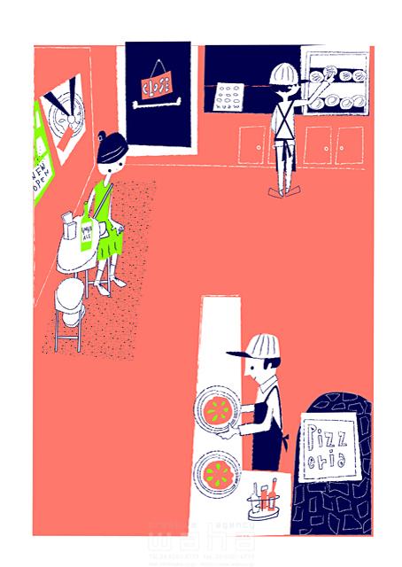イラスト&写真のストックフォトwaha(ワーハ) 人、人々、女性、男性、若者、大人、集合、レストラン、ランチ、食事、ピッツァ、おしゃれ、キャラクター、お出かけ 小林 昌子 19-2346c