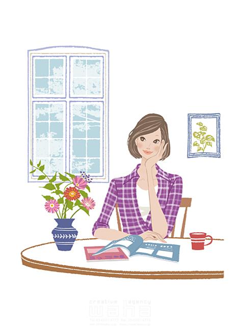 イラスト&写真のストックフォトwaha(ワーハ) 人、人物、女性、大人、奥さん、主婦、お母さん、家、住宅、部屋、リビング、考える、楽しい、計画、本、インテリア、窓、生活、暮らし 藤田 美穂 19-2347b