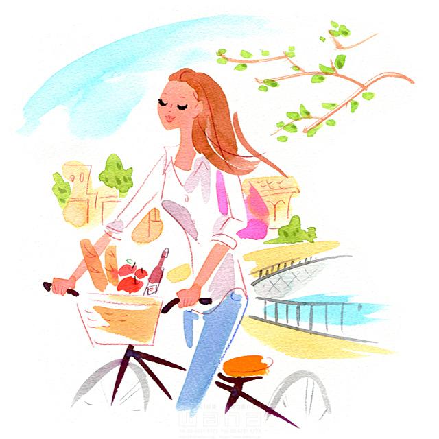 イラスト&写真のストックフォトwaha(ワーハ) 人、人物、女性、大人、奥さん、若者、楽しい、屋外、買い物、ショッピング、家事、自転車、生活、暮らし ツグヲ・ホン多 19-2353b
