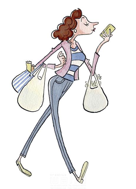 イラスト&写真のストックフォトwaha(ワーハ) 人、人物、女性、大人、奥さん、若者、楽しい、屋外、買い物、ショッピング、家事、スマートフォン、電話、話す、コミュニケーション、生活、暮らし 桑原 節 19-2354b