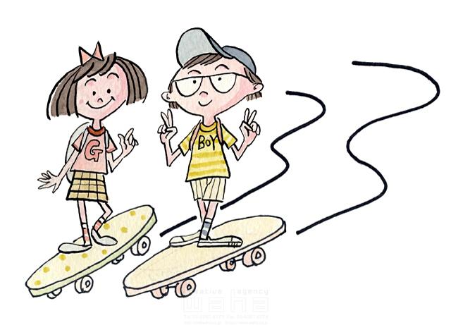 イラスト&写真のストックフォトwaha(ワーハ) 人、人物、人々、子供、笑顔、小学生、男の子、女の子、スケートボード、遊ぶ、生活、暮らし 桑原 節 19-2357b