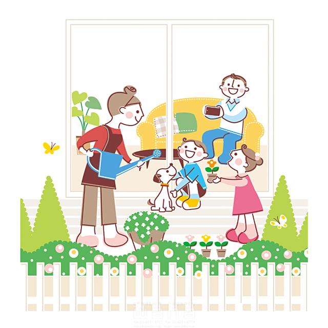 イラスト&写真のストックフォトwaha(ワーハ) 人、人物、人々、家族、男性、女性、お父さん、お母さん、子供、小学生、男の子、女の子、ペット、犬、会話、コミュニケーション、団欒、話す、楽しい、テラス、リビング、ソファ、生活、暮らし、植物、緑 町田 直子 19-2360c