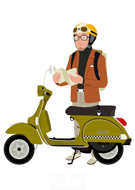 イラスト&写真のストックフォトwaha(ワーハ) 人、人物、男性、大人、中高年、趣味、憩い、安らぎ、楽しい、楽しみ、生き甲斐、生活、暮らし、旅行、観光、バイク、スクーター 両口 和史 19-2363b