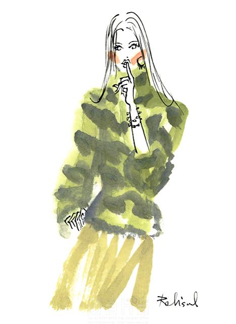 イラスト&写真のストックフォトwaha(ワーハ) 人、人物、水彩、女性、大人、若者、おしゃれ、ファッション、アパレル、モード、スタイリッシュ、美人、モデル レリソウル 19-2364b