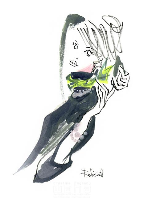 イラスト&写真のストックフォトwaha(ワーハ) 人、人物、水彩、女性、大人、若者、おしゃれ、ファッション、アパレル、モード、スタイリッシュ、美人、モデル レリソウル 19-2366b