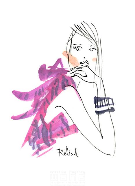 イラスト&写真のストックフォトwaha(ワーハ) 人、人物、水彩、女性、大人、若者、おしゃれ、ファッション、アパレル、モード、スタイリッシュ、美人、モデル レリソウル 19-2368b