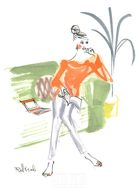 イラスト&写真のストックフォトwaha(ワーハ) 人、人物、水彩、女性、大人、若者、おしゃれ、ファッション、アパレル、モード、スタイリッシュ、リビング、ソファ、本、生活、暮らし、美人、モデル レリソウル 19-2369b