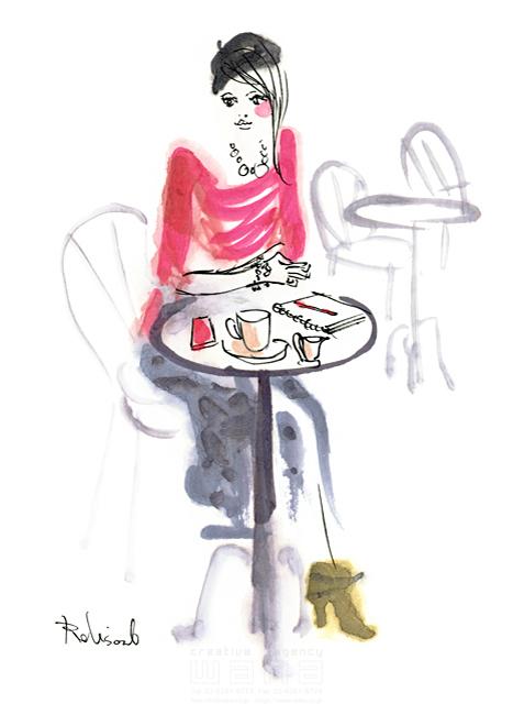 イラスト&写真のストックフォトwaha(ワーハ) 人、人物、水彩、女性、大人、若者、おしゃれ、ファッション、アパレル、モード、スタイリッシュ、カフェ、お出かけ、憩い、安らぎ、美人、モデル レリソウル 19-2371b