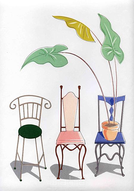 イラスト&写真のストックフォトwaha(ワーハ) オーバーレイ、家、室内、家具、部屋、インテリア、椅子、植物、緑、リビング 峯岸 由江 19-2374b