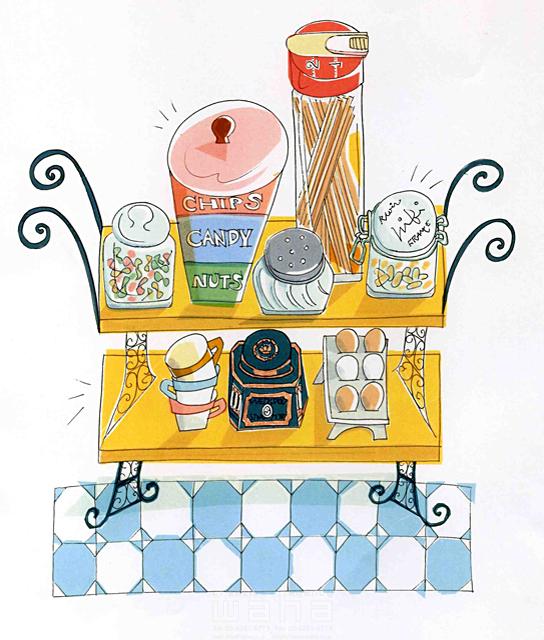 イラスト&写真のストックフォトwaha(ワーハ) オーバーレイ、家、室内、家具、部屋、インテリア、お菓子、食材、食べ物、キッチン 峯岸 由江 19-2377b