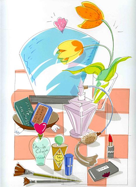 イラスト&写真のストックフォトwaha(ワーハ) オーバーレイ、家、室内、部屋、インテリア、植物、緑、花、香水、化粧、美容、口紅、リップ、オーデコロン 峯岸 由江 19-2378b