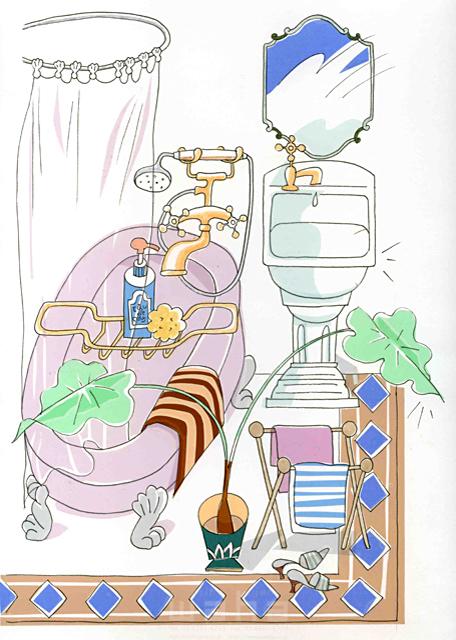 イラスト&写真のストックフォトwaha(ワーハ) オーバーレイ、家、室内、家具、部屋、インテリア、植物、緑、バスルーム、風呂、鏡、シャワー 峯岸 由江 19-2379b