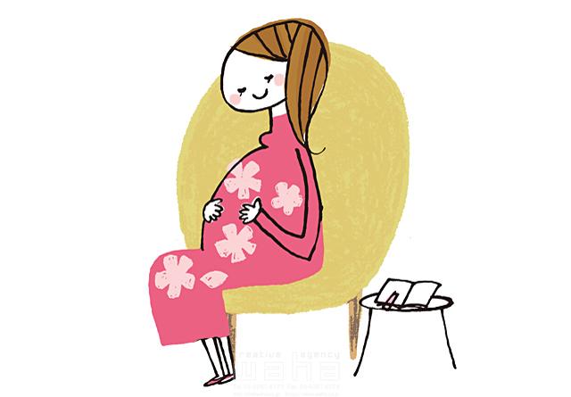 イラスト&写真のストックフォトwaha(ワーハ) 人、人物、線画、女性、大人、妊婦、マタニティ、妊娠、笑顔、お母さん、赤ちゃん、家族、ハート、絆、愛情、幸福、幸せ、安心 きつ まき 19-2381a