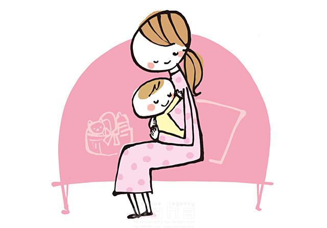 イラスト&写真のストックフォトwaha(ワーハ) 人、人物、線画、女性、大人、笑顔、お母さん、赤ちゃん、子供、家族、ハート、絆、愛情、幸福、幸せ、安心 きつ まき 19-2382b