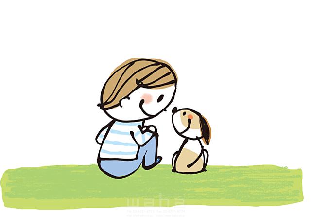 イラスト&写真のストックフォトwaha(ワーハ) 人、人物、線画、男の子、笑顔、小学生、子供、家族、ハート、絆、愛情、幸福、幸せ、安心、犬、ペット、友情 きつ まき 19-2383b
