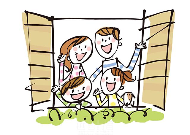 イラスト&写真のストックフォトwaha(ワーハ) 人、人物、線画、女性、男性、大人、笑顔、お母さん、お父さん、子供、家族、絆、愛情、幸福、幸せ、安心、窓、挨拶 きつ まき 19-2385b