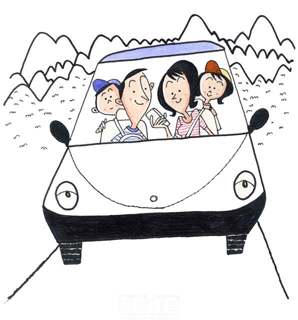 イラスト&写真のストックフォトwaha(ワーハ) 人、人物、線画、女性、男性、大人、笑顔、お母さん、お父さん、子供、男の子、女の子、小学生、家族、ハート、絆、愛情、幸福、幸せ、安心、車、お出かけ、ピクニック、山、自然 桑原 節 19-2387b