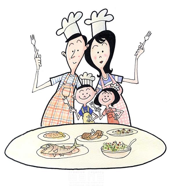 イラスト&写真のストックフォトwaha(ワーハ) 人、人物、線画、女性、男性、大人、笑顔、お母さん、お父さん、子供、男の子、女の子、小学生、家族、絆、幸福、幸せ、料理、食事、キッチン 桑原 節 19-2388b