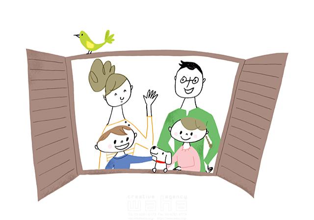 イラスト&写真のストックフォトwaha(ワーハ) 人、人物、線画、女性、男性、大人、笑顔、お母さん、お父さん、子供、男の子、女の子、小学生、犬、ペット、家族、絆、幸福、幸せ、窓、挨拶、コミュニケーション やの ひろこ 19-2391b