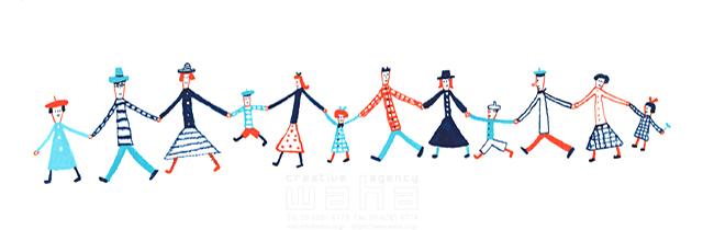 19-2393b すがわら けいこ 線画、人、人々、男性、女性、大人、子供、手をつなぐ、絆、集団