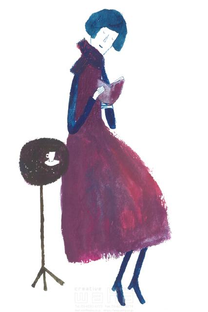 イラスト&写真のストックフォトwaha(ワーハ) 水彩、人、人物、女性、大人、奥さん、コーヒー、カフェ、読書、本、カッコイイ、オシャレ、ファッション、休憩、優雅、リラックス、街 すがわら けいこ 19-2394b