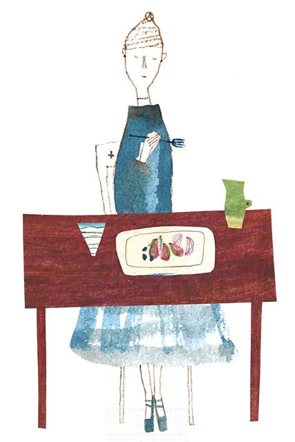 イラスト&写真のストックフォトwaha(ワーハ) 水彩、人、人物、女性、大人、奥さん、食事、料理、野菜、テーブル、レストラン、ダイニング、オシャレ、ファッション、優雅、リラックス すがわら けいこ 19-2395b