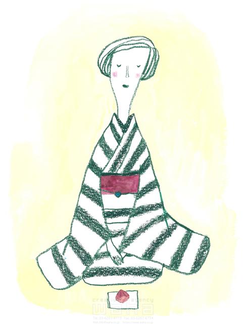 イラスト&写真のストックフォトwaha(ワーハ) 線画、人、人物、女性、大人、奥さん、和服、モノトーン、着物、日本、伝統、オシャレ、ファッション、優雅、リラックス すがわら けいこ 19-2396b