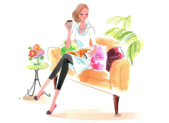 イラスト&写真のストックフォトwaha(ワーハ) 人、人物、水彩、女性、大人、奥さん、家、室内、安らぎ、憩い、くつろぐ、おしゃれ、安心、幸せ、リビング、ソファ、生活、暮らし ツグヲ・ホン多 19-2404b
