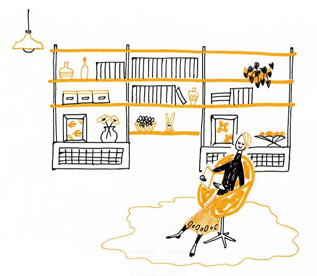 イラスト&写真のストックフォトwaha(ワーハ) 人、人物、線画、女性、大人、奥さん、主婦、家、室内、部屋、リビング、インテリア、ソファ、憩い、安らぎ、くつろぐ、休む、本、読書、生活、暮らし やの ひろこ 19-2405b