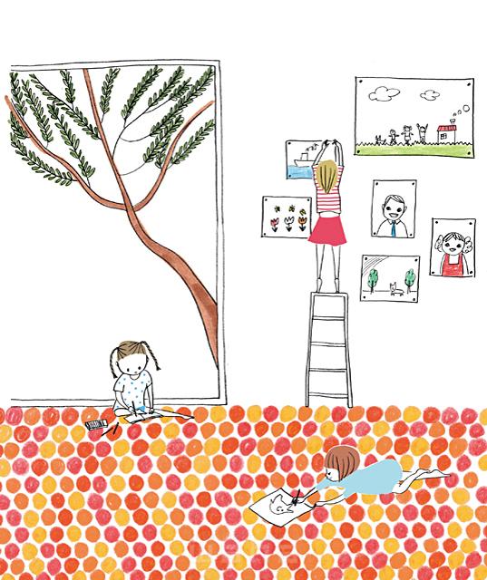 イラスト&写真のストックフォトwaha(ワーハ) 人、人々、線画、女性、子供、女の子、小学生、家族、姉妹、家、部屋、リビング、窓、室内、お絵描き、遊ぶ、楽しい、生活、暮らし やの ひろこ 19-2406b